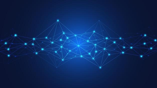 Abstrakter technologiehintergrund mit verbindungspunkten und linien. digitale technologie der globalen netzwerkverbindung und kommunikation.