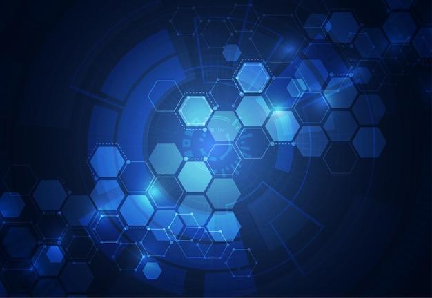Abstrakter technologiehintergrund mit verbundenen linien und punkten entwerfen auf einem dunklen hintergrund. vektor-illustration