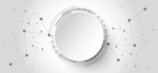 Abstrakter technologiehintergrund mit verschiedenen technologieelementen.