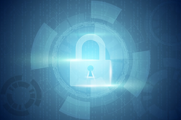 Abstrakter technologiehintergrund schützt systeminnovation sicherheit cyber digitales konzept. schutz personenbezogener daten. .