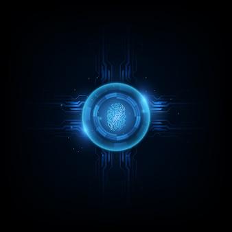 Abstrakter technologiehintergrund sicherheitssystem mit zeichen des fingerabdruck-buchstaben p