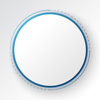 Abstrakter technologiehintergrund, weißes kreisfahne auf blauem digitalem kreis