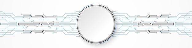 Abstrakter technologiehintergrund, weißes kreisfahne auf blauem leiterplattenmuster