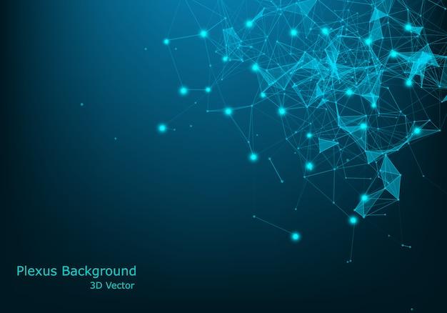 Abstrakter technologiehintergrund. wissenschaftlicher hintergrund. große daten. hintergrund . plexus-effekt. netzwerkverbindungsstruktur.