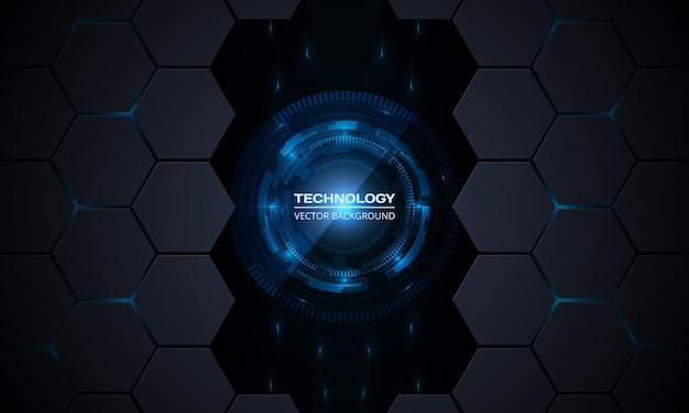Abstrakter technologieinnovationskonzepthintergrund mit leiterplatte und hexagon