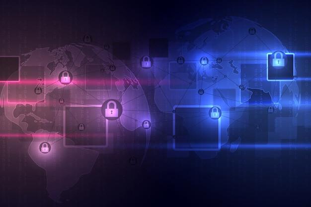 Abstrakter technologischer hintergrund schützt systeminnovation. cyber-digital-sicherheitskonzept.