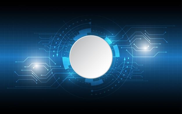 Abstrakter technologischer hintergrundkreis leerer raum mit verschiedenen technologieelementen