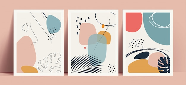Abstrakter terrazzoarthintergrund, der mit handgezeichneten geometrischen formen und linien der pastellfarbe und tropischen blattschattenbildern eingestellt wird. funktioniert für dekor wanddrucke oder buchcover oder flyer oder menü design.