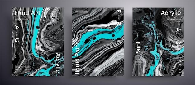 Abstrakter textursatz der fließenden kunstabdeckungen. Premium Vektoren