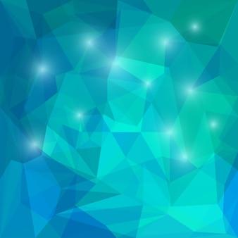 Abstrakter tiefseeblauer polygonaler, dreieckiger geometrischer hintergrund mit lichtern zur verwendung im design für karten, einladungen, poster, banner, plakate oder plakatabdeckungen