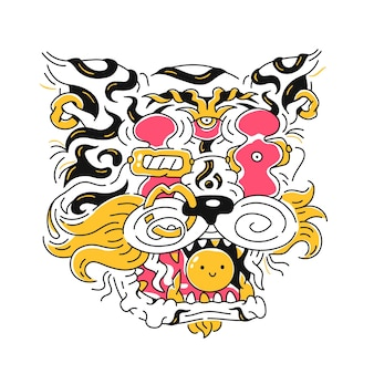 Abstrakter tigerkopf. vektor handgezeichnete cartoon-doodle-illustration-symbol. isoliert auf weißem hintergrund. tigerdruck für t-shirt, posterkonzept