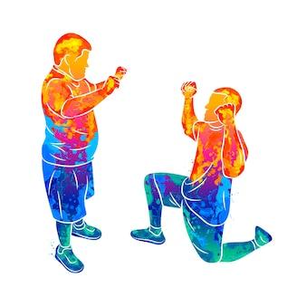 Abstrakter trainer hilft einem jungen mit down-syndrom durch spritzen von aquarellen. besondere bedürfnisse. illustration von farben