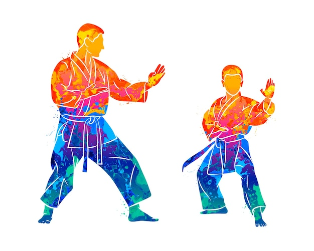 Abstrakter trainer mit einem jungen im kimono, der karate vom spritzen der aquarelle trainiert. illustration von farben