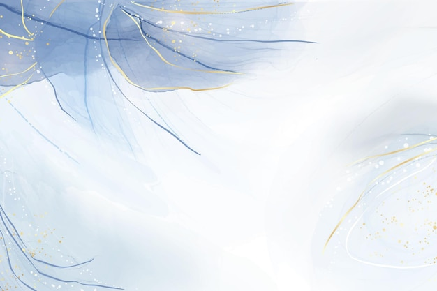Abstrakter türkisfarbener und aquamariner blauer flüssiger marmorierter aquarellhintergrund mit wellenmuster und goldenen sprüngen. cyan-alkoholtinte marmorierter zeicheneffekt. vektorillustrations-designschablone für einladung.