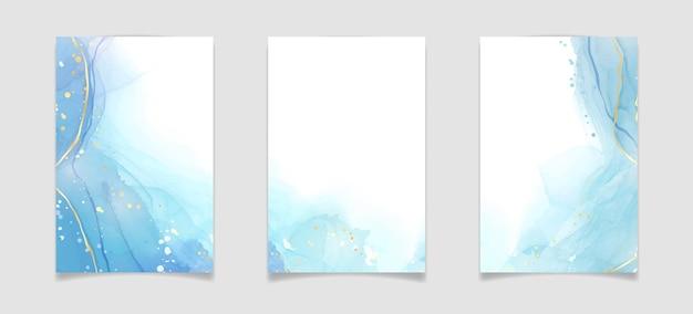 Abstrakter türkisfarbener und aquamariner blauer flüssiger marmorierter aquarellhintergrund mit wellenmuster
