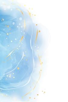 Abstrakter türkisfarbener und aquamariner blauer flüssiger marmorierter aquarellhintergrund