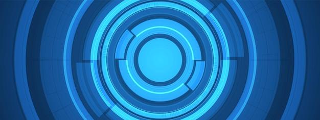 Abstrakter überlappungskreis digitaler hintergrund, intelligente linsentechnologie mit lichteffekt
