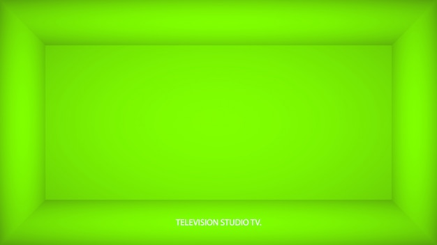 Abstrakter ufo grüner leerer raum, nische mit ufo grüner wand, boden, decke, dunkle seite ohne irgendwelche texturen, box draufsicht farblose 3d illustration