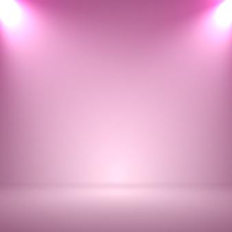 Abstrakter undeutlicher glatter rosa farbstudiohintergrund mit scheinwerfer für ihre darstellung