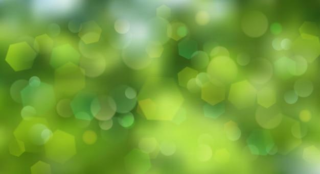 Abstrakter unscharfer hintergrund mit bokeh-effekt in grünen farben