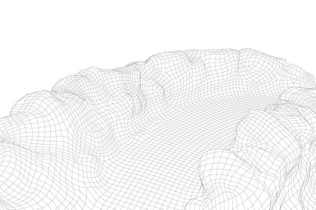 Abstrakter vektor-drahtmodell-landschaftshintergrund. futuristische 3d-mesh-berge. 80er jahre retro-abbildung. täler der cyberspace-technologie.
