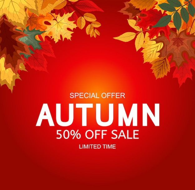 Abstrakter vektor-illustration autumn sale background mit fallendem autumn leaves