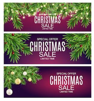 Abstrakter vektor-illustrations-weihnachtsverkauf, sonderangebot-hintergrund. winter hot discount card template sammlungssatz