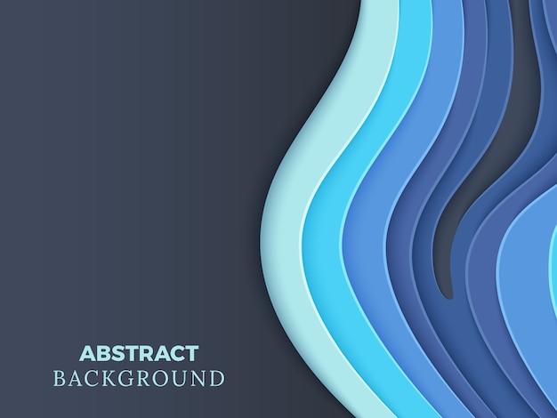 Abstrakter vektorhintergrund mit blauem überlagertem papier schnitt wellen 3d