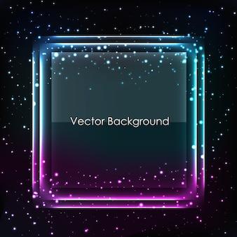 Abstrakter vektorhintergrund mit blauem und lila rahmen auf dunklem stern