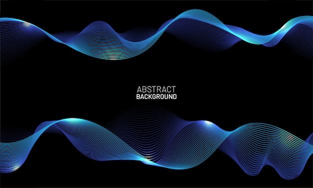 Abstrakter vektorhintergrund mit blauen fließenden dynamischen wellenlinien