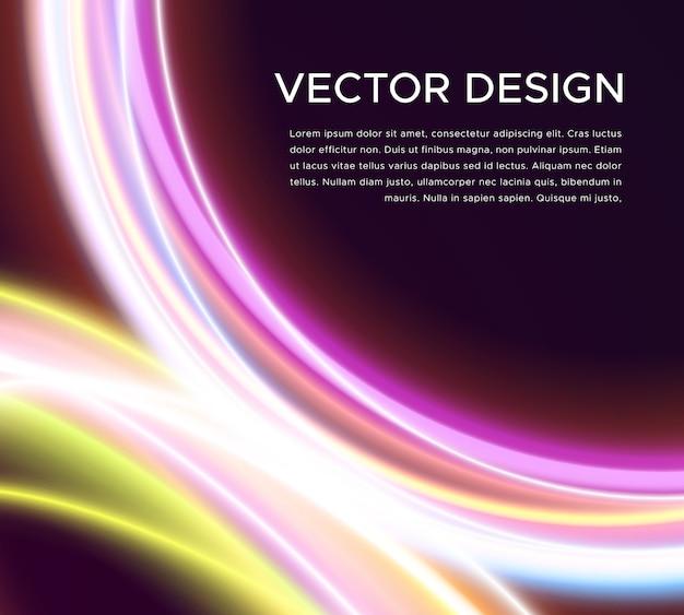 Abstrakter vektorhintergrund mit glühenden kurven