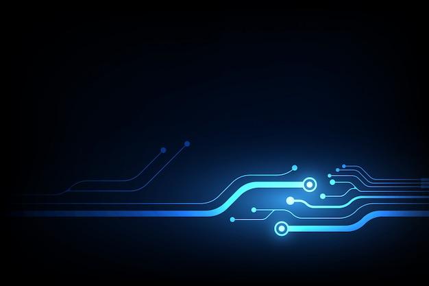 Abstrakter vektorhintergrund mit hightech- blauer leiterplatte.