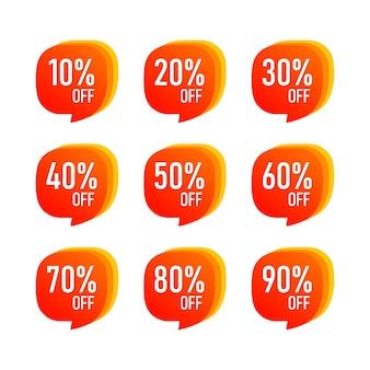 Abstrakter verkauf 10 - 90 prozent rabatt-label-tag isoliert. vektor-eps10