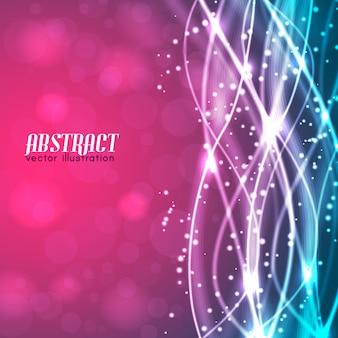 Abstrakter verschwommener rosa und blauer hintergrund mit text und glühenden weißen fäden und funkelt