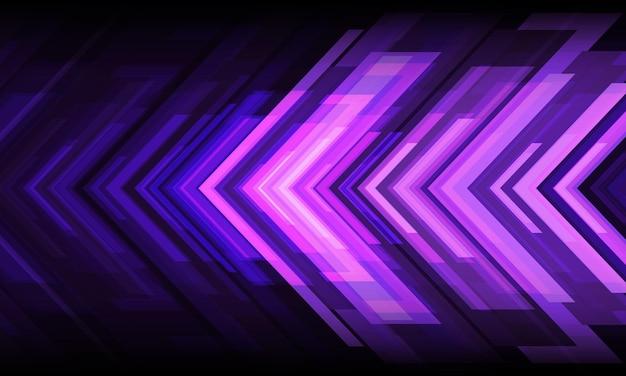 Abstrakter violetter pfeillichtmacht geometrischer richtungsentwurf futuristischer technologiehintergrundvektor