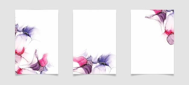 Abstrakter violetter und rosa flüssiger aquarell- oder alkoholtintenhintergrund