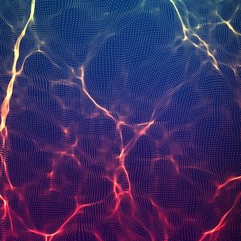 Abstrakter violetter wellennetzhintergrund. punktwolkenarray. chaotische lichtwellen. technologischer cyberspace-hintergrund. cyberwellen.