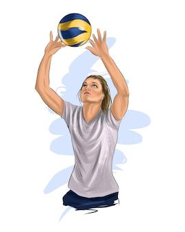Abstrakter volleyballspieler, der vom spritzen der aquarelle färbt, die realistische zeichnung springen
