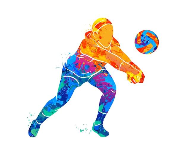 Abstrakter volleyballspieler, der von einem spritzer aquarelle springt. illustration von farben.