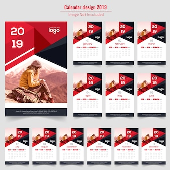 Abstrakter wandkalender 2019