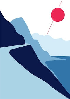 Abstrakter wandkunstlandschaftshintergrund mit sonne, bergen und ozean. vektor moderne plakatdruckabdeckung