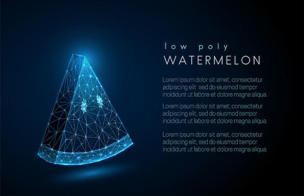 Abstrakter wassermelonenscheibenhintergrund mit textschablone. low-poly-style-design.