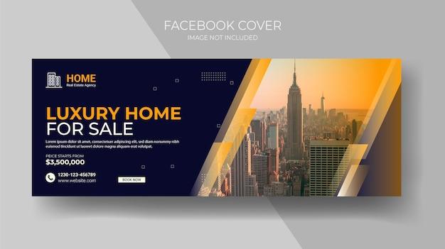 Abstrakter web-banner-design-hintergrund oder header immobilien-facebook-cover und banner-vorlage