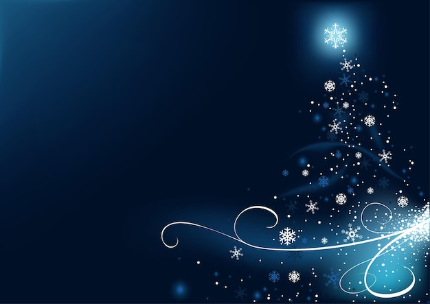 Abstrakter weihnachtsbaum aus sternen und schneeflocken und blauen lichteffekten und leuchtenden kurven