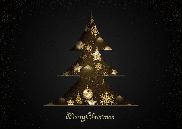 Abstrakter weihnachtsbaum herausgeschnitten vom papier auf schwarzem