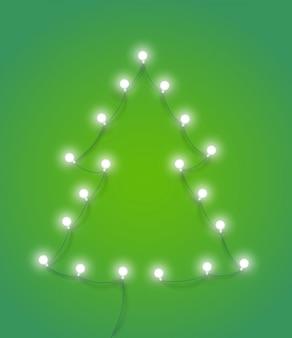 Abstrakter weihnachtsbaum mit beleuchtungsgirlande.