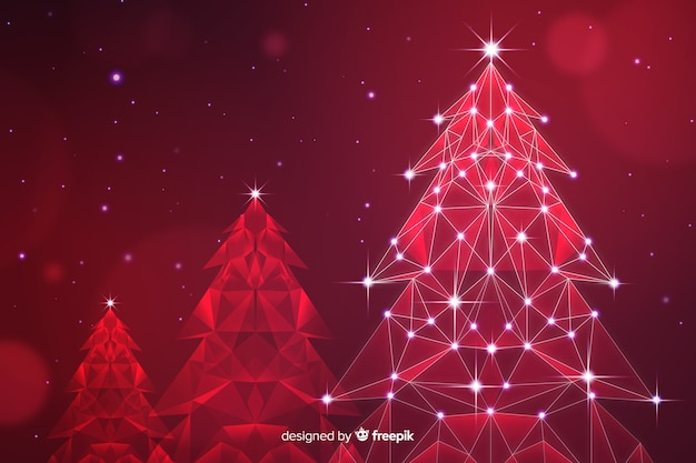 Abstrakter weihnachtsbaum mit lichtern in den roten schatten
