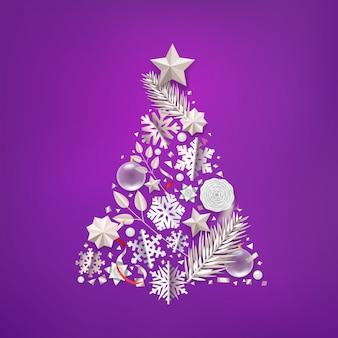 Abstrakter weihnachtsbaum mit unterschiedlichem zusatz.