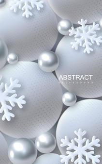 Abstrakter weihnachtshintergrund mit silbernen und weißen kugeln 3d und schneeflocken