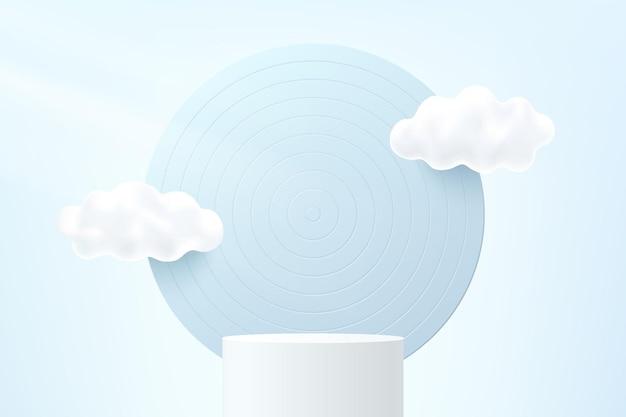 Abstrakter weißer 3d-zylindersockel oder standpodium mit kreishintergrund und weißen wolken, die in den himmel fliegen. pastellblaue minimale szene für die produktpräsentation. vektorgeometrische rendering-plattform